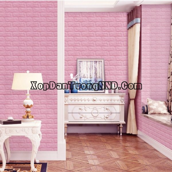 Ảnh phối cảnh sản phẩm Xốp dán tường giả gạch màu hồng nhạt mã GG02