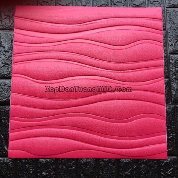 Mẫu xốp dán tường 3D vân sóng màu đỏ mã Vs02