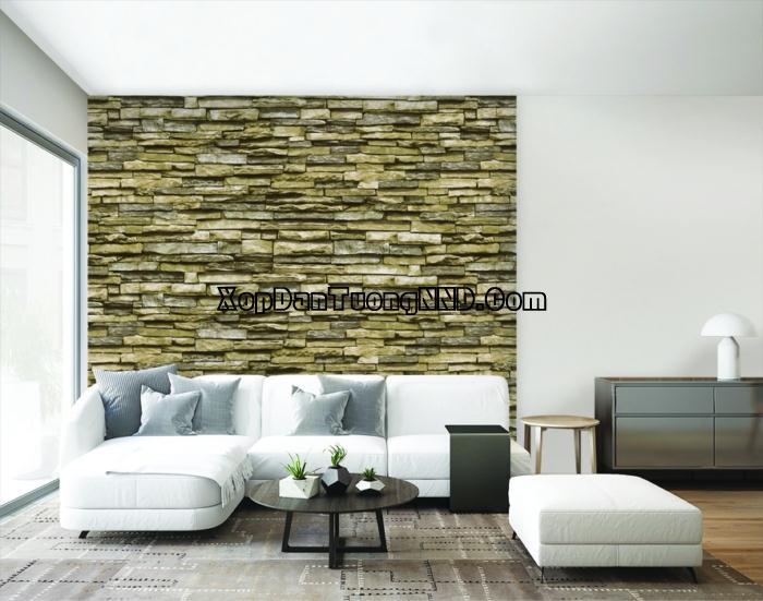 Mẫu giấy dán tường giả đá 3D phòng khách