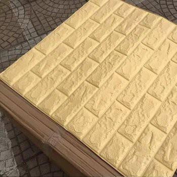 Mẫu xốp dán tường chống ẩm màu vàng kem