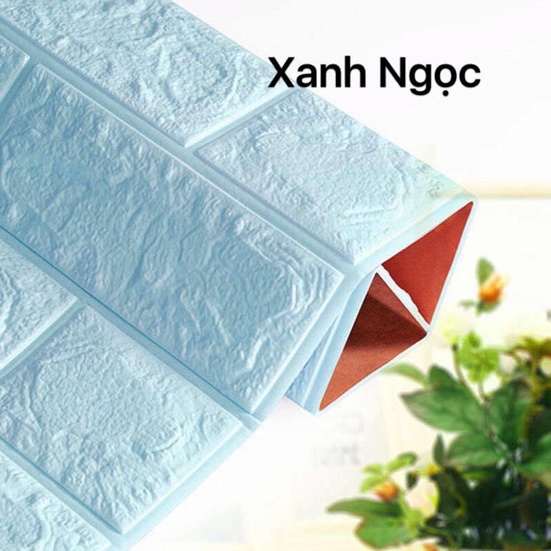 Mẫu xốp dán tường màu xanh ngọc giả gạch