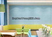 Trang trí quán cafe với xốp dán tường giả gỗ 3D màu xanh