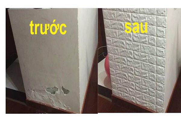 Xốp dán tường giúp che lấp khuyết điểm cho tường rất tốt