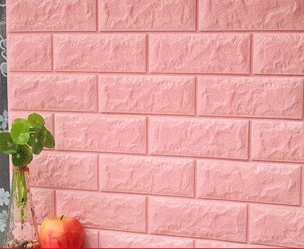 Xốp dán tường 3D giả gỗ màu hồng