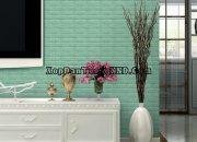 Xốp dán tường giả gạch màu xanh cho phòng khách