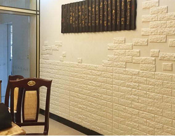 Mẫu xốp dán tường màu vàng nhạt giả gạch