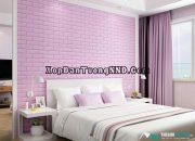 Xốp dán tường màu hồng cho phòng ngủ