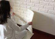 Dán lần lượt các tấm xốp dán tường