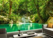 Hình ảnh suối chảy róc rách giữa rừng xanh của giấy dán tường 3D
