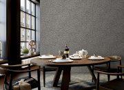Giấy dán tường màu ghi tạo sự sang trọng cho căn phòng
