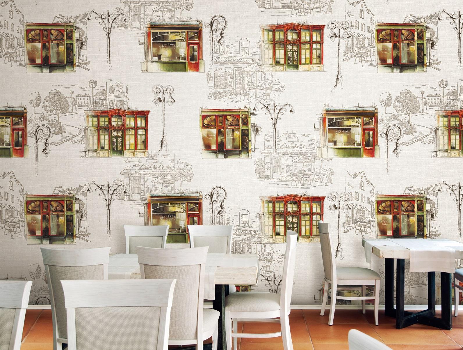 Giấy dán tường với họa tiết phố phường tĩnh lặng