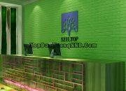 Mẫu xốp dán tường giả gạch 3d màu xanh lá cây