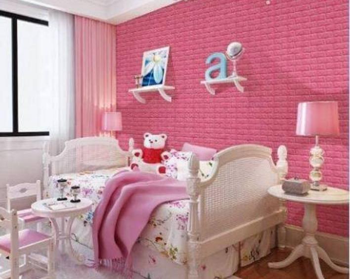 Mẫu xốp dán tường 3D giả gạch dành cho phòng ngủ