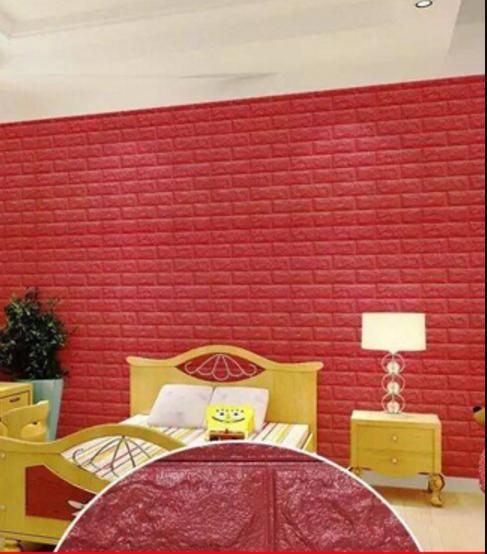 Mẫu xốp dán tường màu đỏ dành cho phòng ngủ