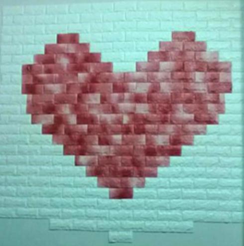 Mẫu xốp dán tường màu đỏ nhạt giả gạch