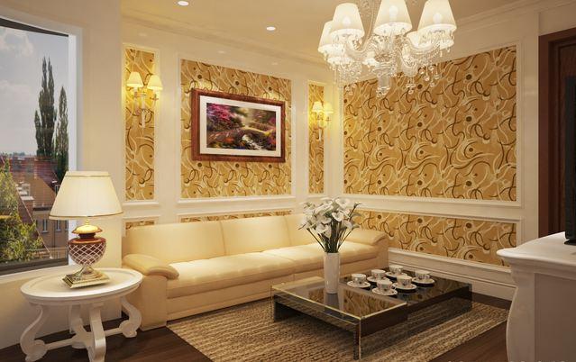 Trang trí cho phòng khách với giấy dán tường phong cách cổ điển