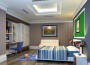 Trang trí phòng ngủ với giấy màu vân gỗ dán tường