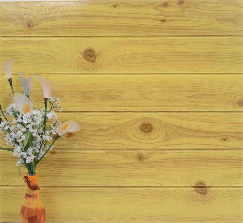 Xốp dán tường giả vân gỗ màu vàng cổ điển