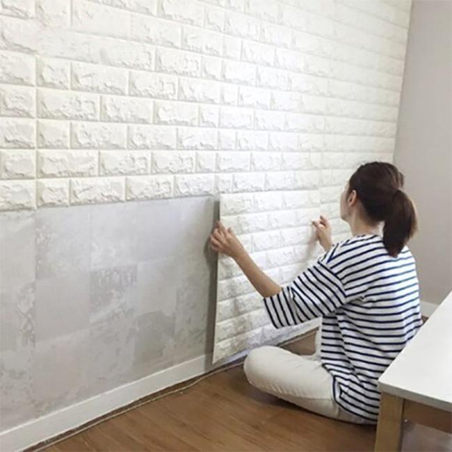 Xốp dán tường màu trắng giả gạch 3d dễ dàng thi công