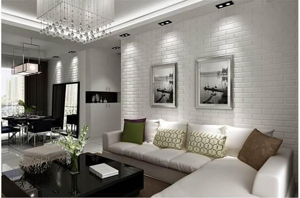 Xốp dán tường màu trắng giả gạch sinh động, tinh tế