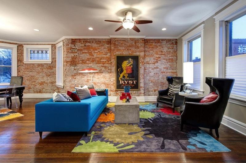 Mẫu giấy dán tường ô gạch tạo sự sang trọng cho phòng khách