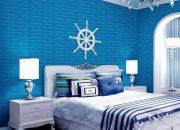 Mẫu xốp dán tường giả gạch màu xanh dương