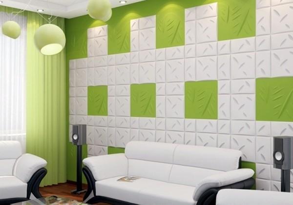 Phòng khách ấn tượng với xốp dán tường 3d